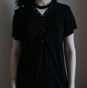Black lace up graphic tee